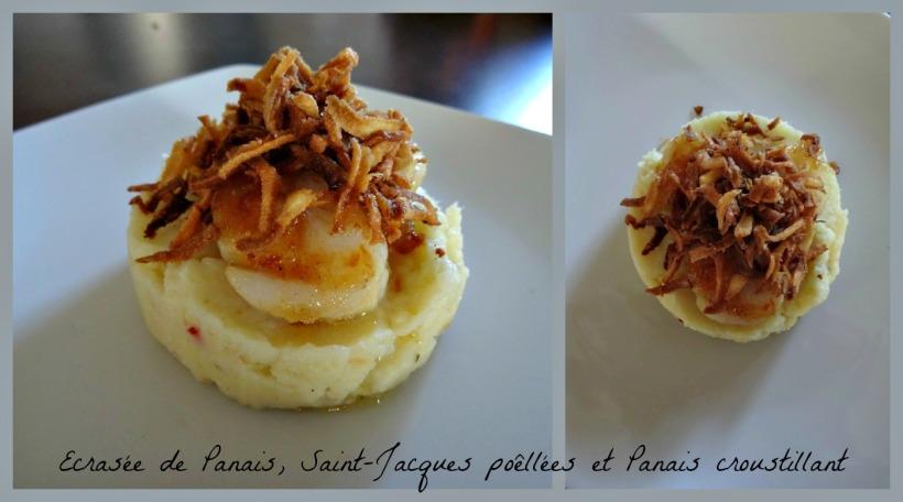 écrasée de panais, Saint Jacques poêlées à l'ail et chips de panais